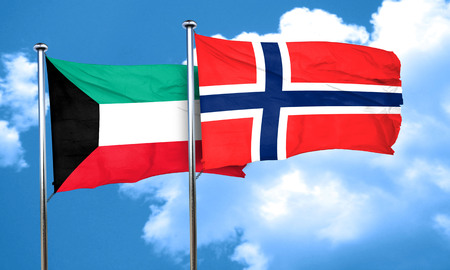 norway flag: Kuwait flag with Norway flag, 3D rendering