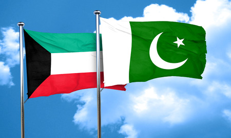 pakistan flag: Kuwait flag with Pakistan flag, 3D rendering