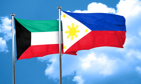 philippino: Kuwait flag with Philippines flag, 3D rendering