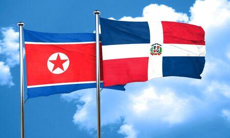 republic of korea: North Korea flag with Dominican Republic flag, 3D rendering Stock Photo