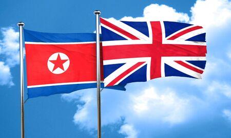 bandera de gran breta�a: North Korea flag with Great Britain flag, 3D rendering