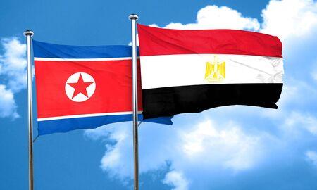 egypt flag: North Korea flag with egypt flag, 3D rendering