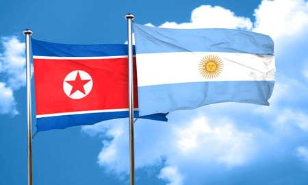 argentine: North Korea flag with Argentine flag, 3D rendering