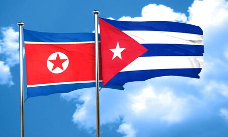 cuban culture: North Korea flag with cuba flag, 3D rendering