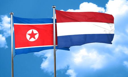 korea flag: North Korea flag with Netherlands flag, 3D rendering