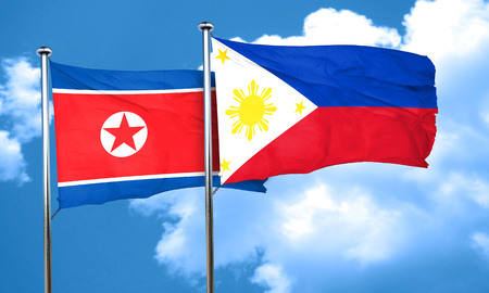 philippino: North Korea flag with Philippines flag, 3D rendering