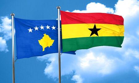 ghanese: Kosovo flag with Ghana flag, 3D rendering