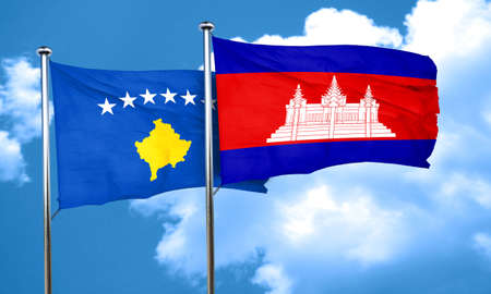 cambodian flag: Kosovo flag with Cambodia flag, 3D rendering Stock Photo