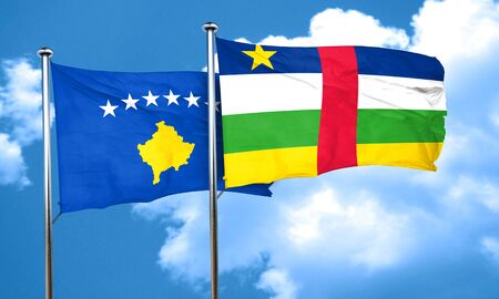 central african republic: Kosovo flag with Central African Republic flag, 3D rendering