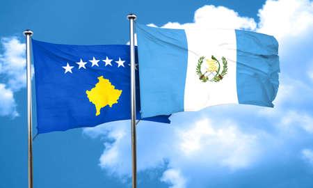 bandera de guatemala: bandera de Kosovo con la bandera de Guatemala, representación 3D