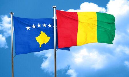 guinea: Kosovo flag with Guinea flag, 3D rendering