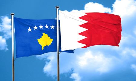 kosovo: Kosovo flag with Bahrain flag, 3D rendering