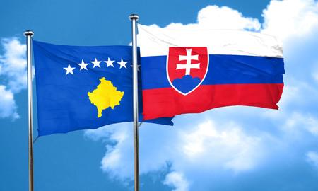 slovakia: Kosovo flag with Slovakia flag, 3D rendering