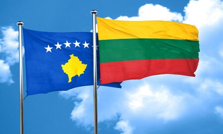 lithuania: Kosovo flag with Lithuania flag, 3D rendering Stock Photo