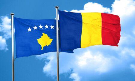 kosovo: Kosovo flag with Romania flag, 3D rendering