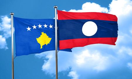 laos: Kosovo flag with Laos flag, 3D rendering