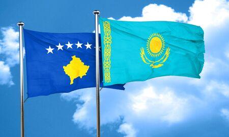 amity: Kosovo flag with Kazakhstan flag, 3D rendering