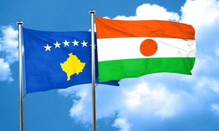kosovo: Kosovo flag with Niger flag, 3D rendering