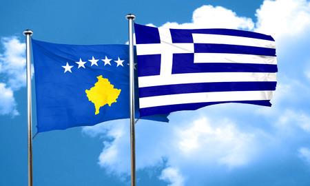 kosovo: Kosovo flag with Greece flag, 3D rendering