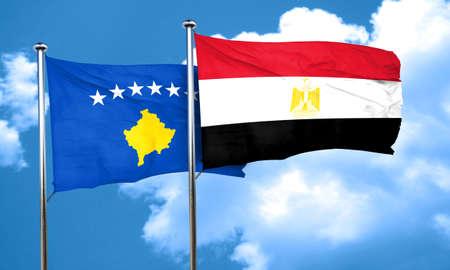 bandera egipto: Kosovo flag with egypt flag, 3D rendering