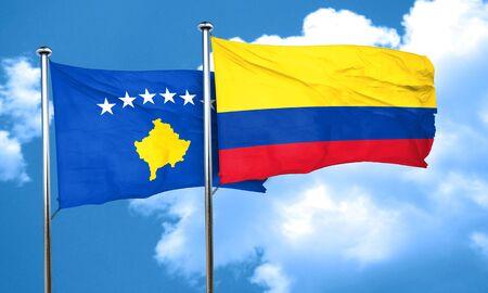 bandera de colombia: bandera de Kosovo con la bandera Colombia, 3D