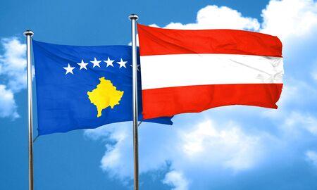 austria flag: Kosovo flag with Austria flag, 3D rendering