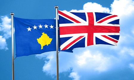 great britain flag: Kosovo flag with Great Britain flag, 3D rendering Stock Photo