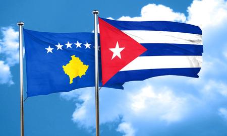 kosovo: Kosovo flag with cuba flag, 3D rendering Stock Photo