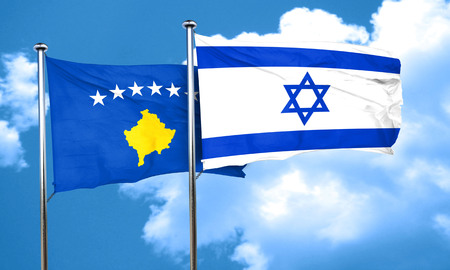 israel flag: Kosovo flag with Israel flag, 3D rendering