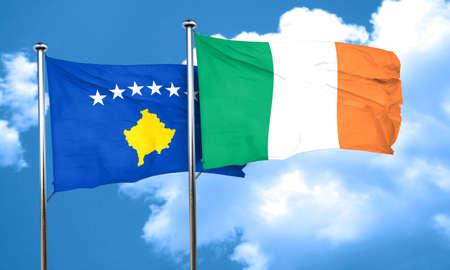 bandera irlanda: bandera de Kosovo con la bandera de Irlanda, 3D