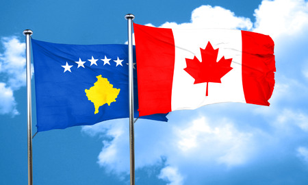 canadian state flag: Kosovo flag with Canada flag, 3D rendering