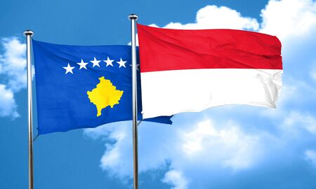 indonesia culture: Kosovo flag with Indonesia flag, 3D rendering