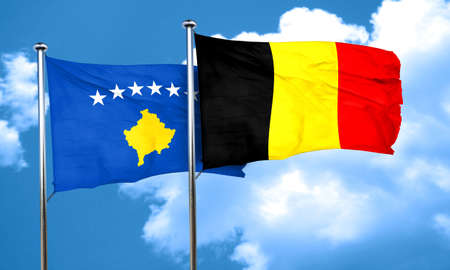 belgium flag: Kosovo flag with Belgium flag, 3D rendering Stock Photo