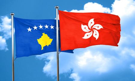 kosovo: Kosovo flag with Hong Kong flag, 3D rendering