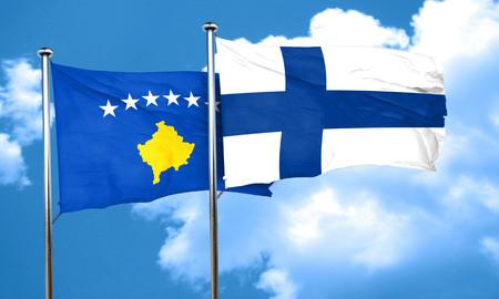 kosovo: Kosovo flag with Finland flag, 3D rendering Stock Photo