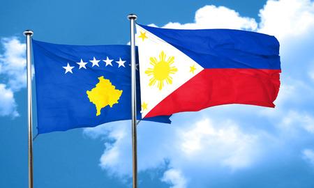 kosovo: Kosovo flag with Philippines flag, 3D rendering