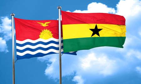 ghana: Kiribati flag with Ghana flag, 3D rendering