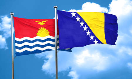 bosnia and herzegovina flag: Kiribati flag with Bosnia and Herzegovina flag, 3D rendering