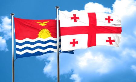 kiribati: Kiribati flag with Georgia flag, 3D rendering