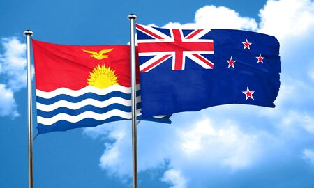 kiribati: Kiribati flag with New Zealand flag, 3D rendering Stock Photo