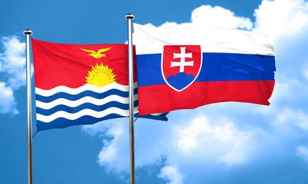 slovakia flag: Kiribati flag with Slovakia flag, 3D rendering