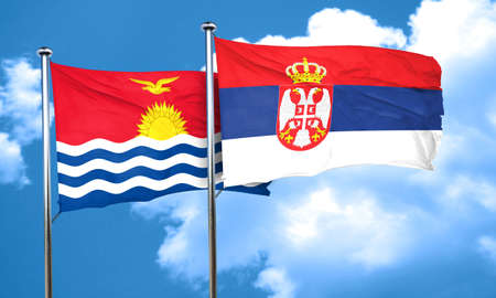 serbia flag: Kiribati flag with Serbia flag, 3D rendering