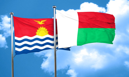 madagascar: Kiribati flag with Madagascar flag, 3D rendering
