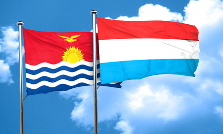 luxembourg: Kiribati flag with Luxembourg flag, 3D rendering Stock Photo
