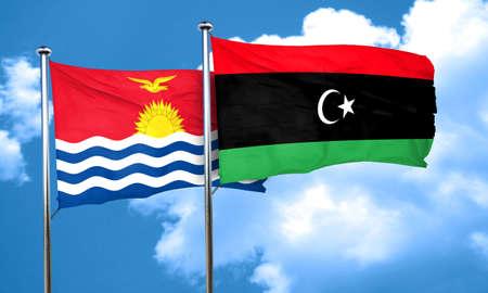 kiribati: Kiribati flag with Libya flag, 3D rendering