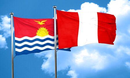 kiribati: Kiribati flag with Peru flag, 3D rendering Stock Photo