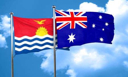 kiribati: Kiribati flag with Australia flag, 3D rendering Stock Photo