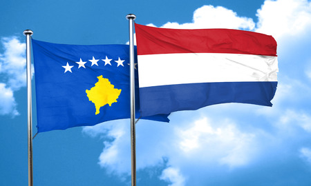 holland flag: Kosovo flag with Netherlands flag, 3D rendering