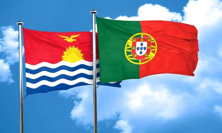 kiribati: Kiribati flag with Portugal flag, 3D rendering