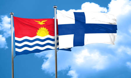 finland flag: Kiribati flag with Finland flag, 3D rendering Stock Photo